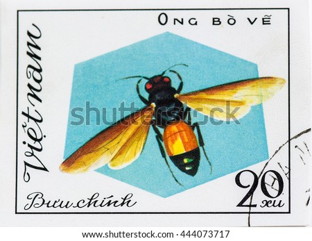 VIETNAM - CIRCA 1982: A stamp printed in Vietnam shows Insect Ong Bove, circa 1982 - stock photo
