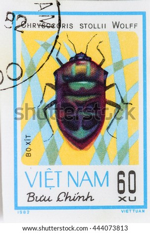 "VIETNAM - CIRCA 1982: A Stamp printed in VIETNAM shows the image of a bug with the description ""Chrysocoris Stollii Wolff"" from the series ""Chinch Bugs"", circa 1982 - stock photo"