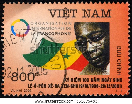 VIETNAM - CIRCA 2006: A stamp printed in Vietnam to commemorate shows Politics & Government (Politicians) shows Leopold Sedar Senghor (1906-2001), circa 2006 - stock photo