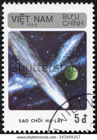 VIETNAM - CIRCA 1985: An airmail stamp printed in Vietnam shows a space ship, series, circa 1985. - stock photo