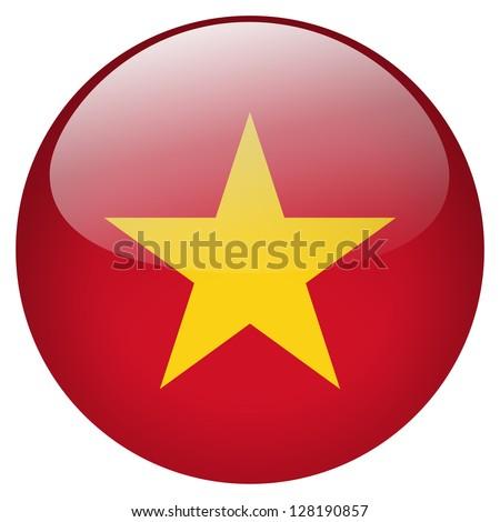 Vietnam flag button - stock photo