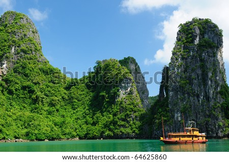 Vietnam - Halong Bay National Park (UNESCO). The most popular place in Vietnam. - stock photo