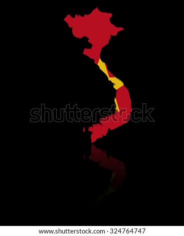 Vietnam map flag with reflection illustration - stock photo