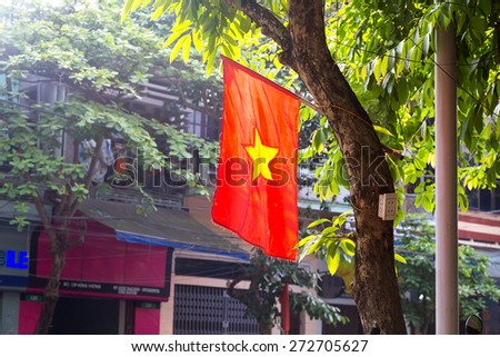 Vietnam national flag during a holiday - stock photo
