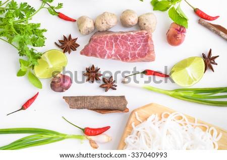 vietnam pho noodle soup ingredients. Food background - stock photo