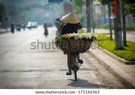 vietnam street market lady seller - stock photo