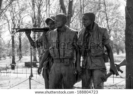 Vietnam Veterans Memorial Statue, Washington DC, USA in black and white - stock photo