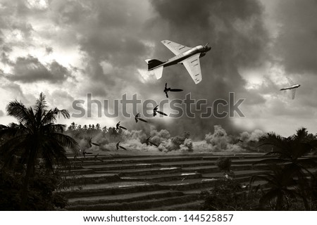 Vietnam War 'style' B&W image circa 1970 of two Intruder fighter bombers flying low over the rice paddies of South Vietnam unloading their bomb arsenal on the enemy positions. (Artist's Impression) - stock photo