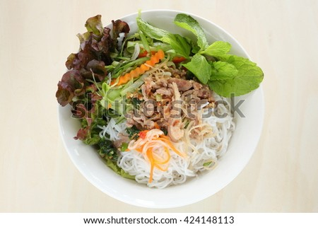 Vietnamese food, Rice noodle and grilled pork - stock photo