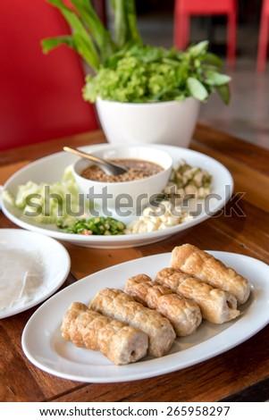 Vietnamese Meatball Wraps,Vietnamese Pork Sausage - stock photo