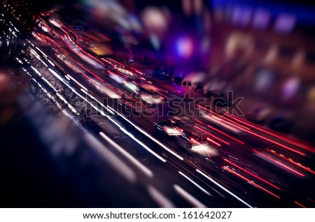 View a night city lights in motion - stock photo