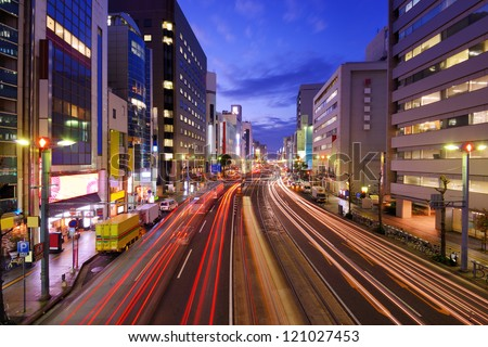 View above Aioi-Dori Avenue, the central commercial district in downtown Hiroshima, Japan. - stock photo
