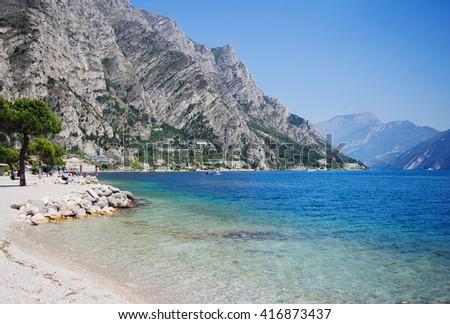 View above big beautiful lake, Garda lake, Italy. - stock photo