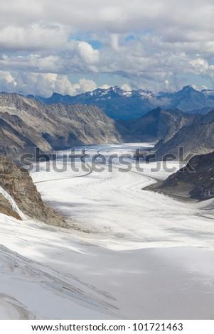 View above great Aletsch glacier seen from Jungfraujoch, Switzerland - stock photo