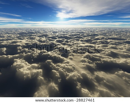view above the clouds (3D render) - stock photo