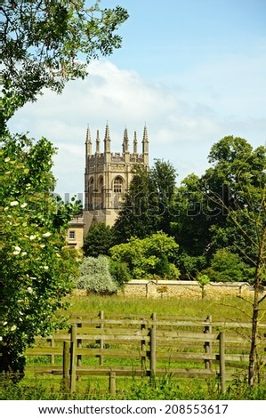 View across Christ Church meadow towards Merton College and Merton Chapel, Oxford, Oxfordshire, England, UK, Western Europe. - stock photo