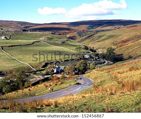 View across farmland and fell, Darnbrook, Yorkshire Dales, North Yorkshire, England, UK, Great Britain, Western Europe. - stock photo