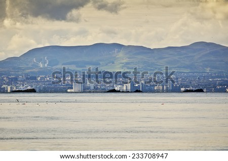 View across Forth Estuary to Edinburgh, Scotland - stock photo