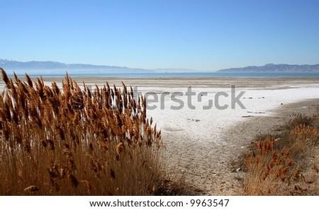 View across Great Salt Lake, Utah - stock photo