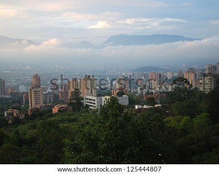 View across Medellin from El Tesoro Shopping Centre, Colombia. - stock photo