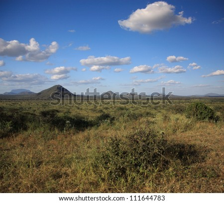 View across the African landscape - stock photo