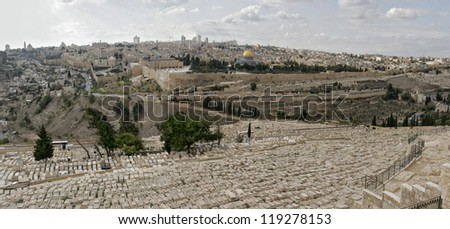 View An Old City of Jerusalem from Olive Mount, Israel - stock photo