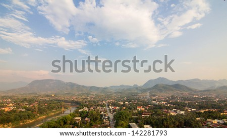 View ancient city at Luang Prabang, Laos - stock photo
