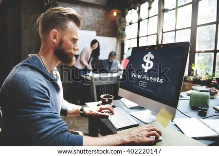 View Assets Banking Accounting Marketing Concept - stock photo