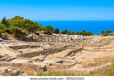 View at archaeologicall site of Kamiros town. Rhodes, Greece - stock photo