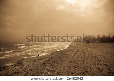 view at beach - stock photo