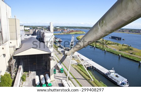 View at cement factory transporter, The Netherlands - stock photo