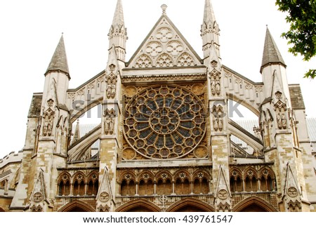 View at facade of ancient church in London, UK (Westminster) - stock photo