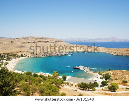 View at Lindou Bay from Lindos acropolis. Rhodes island, Greece. - stock photo