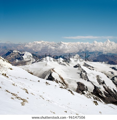 View at 6300 meters over the sea level, on the West face of Aconcagua mountain. Aconcagua Provincial Park, Mendoza, Argentina, South America. - stock photo