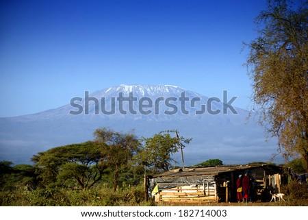 View at Mount Kilimanjaro - stock photo