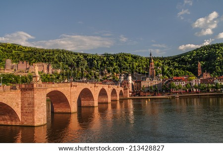 View at old town, castle and city bridge in Heidelberg, Germany - stock photo