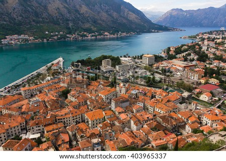 view at old town Kotor, Montenegro from the top - stock photo