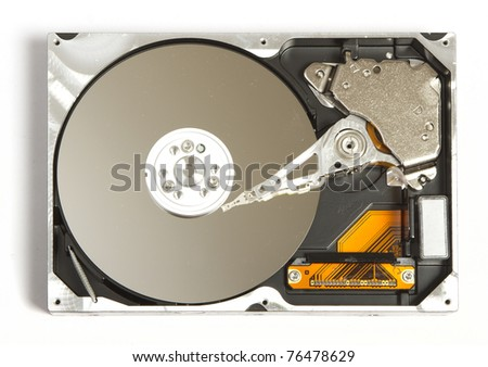 View at open hard disk from above - stock photo