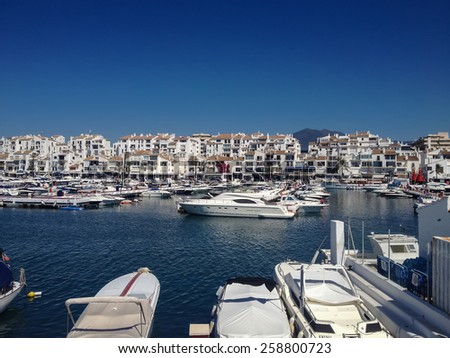 View at Puerto Banus in Marbella, Spain - stock photo