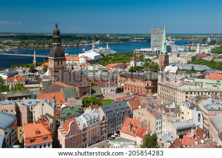 View at Riga from the tower of Saint Peter's Church, Latvia - stock photo