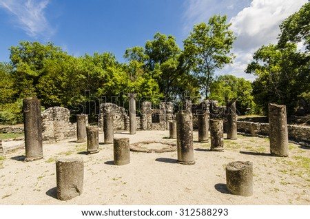 View at ruins of ancient city Butrint in Albania - stock photo