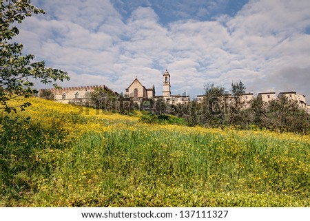 view at spring of Florence Charterhouse (Certosa di Firenze), antique monastery founded in 1341 - stock photo
