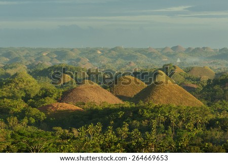 View at the  Chocolate Hills. Bohol, Philippines - stock photo