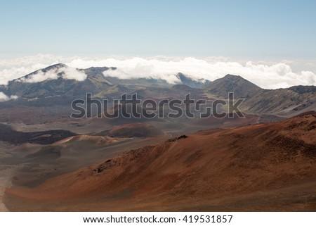 View at the Haleakala summit on the Hawiian island of Maui - stock photo