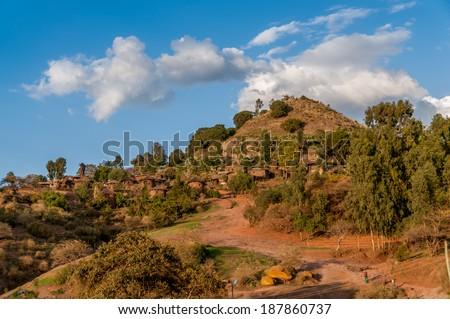 View at the Lalibela village in Ethiopia . - stock photo