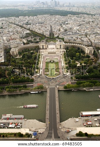 View at the Parisian Trocadero from Eiffel Tower, France. - stock photo