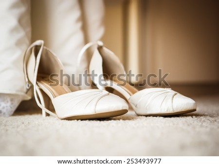 View at the wedding shoes - stock photo