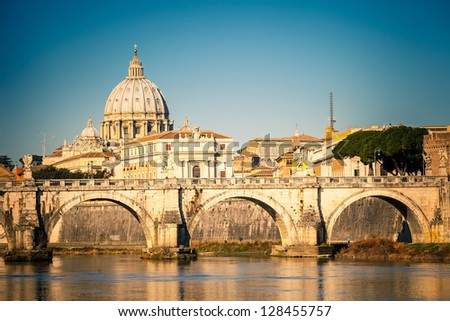 View at Tiber and St. Peter's cathedral in Rome, Italy - stock photo