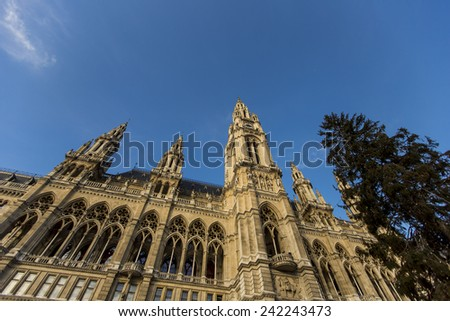 View at Vienna City Hall - stock photo
