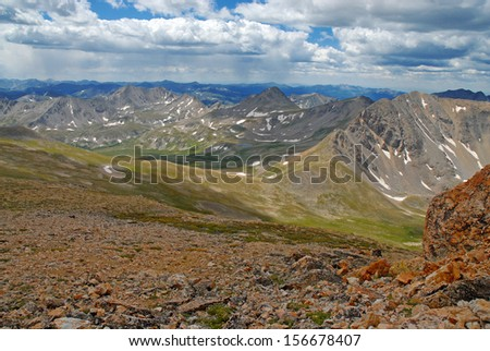View between Mount Belford and Mount Oxford, Sawatch Range Colorado Rockies - stock photo